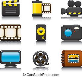 photo, ensemble, vidéo, icône, une
