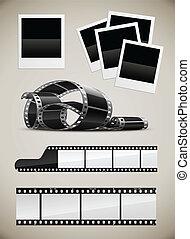 photo, ensemble, vidéo, pellicule, images