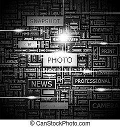 PHOTO. Word cloud concept illustration. Wordcloud collage.