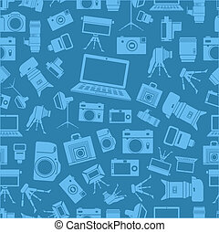 Photo equipment sillhouettes blue seamless background