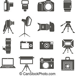 Photo equipment sillhouettes collection isolated on white