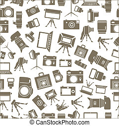 Photo equipment sillhouettes seamless background