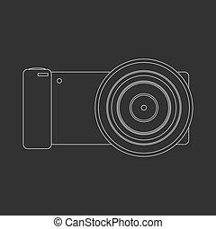 photo, esquissé, appareil photo