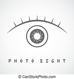 Photo eye logo template - Photo eye with eyelash icon, ...