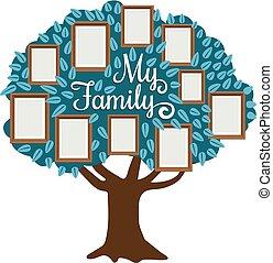 photo famille, cadre, arbre, isolé, blanc