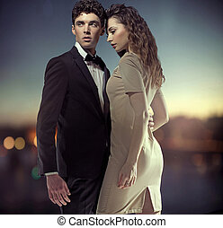 photo, fantastique, grand, couple, élégant