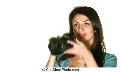 photo, femme, appareil photo