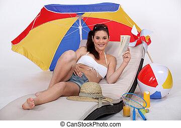 photo), femme, plage, (studio