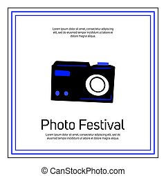 Photo festival banner template with text space. Retro camera vector illustration in doodle style.
