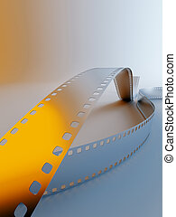 photo film on a blue background with yellow light