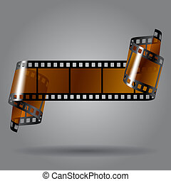 Photo film strip - Curled photo film strip on gray ...