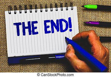 photo, fin, quelque chose, marqueur, écriture, fin, idées, créatif, noir, conceptuel, blanc, call., conclusion, vie, natte, business, projection, motivation, bloc-notes, main, ombre, temps, showcasing, papers.