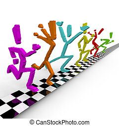 A team of colorful runners cross the finish line at the same time