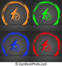 Photo flash icon sign. Fashionable modern style. In the orange, green, blue, red design.