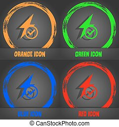 Photo flash icon sign. Fashionable modern style. In the orange, green, blue, red design. Vector