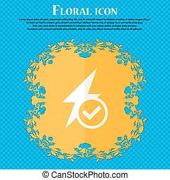 Photo flash icon sign. Floral flat design on a blue abstract background with place for your text. Vector