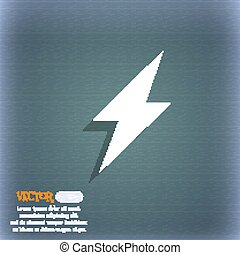 Photo flash icon sign. On the blue-green abstract background with shadow and space for your text. Vector