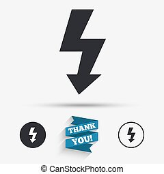 Photo flash sign icon. Lightning symbol. Flat icons. Buttons...