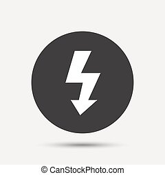 Photo flash sign icon. Lightning symbol. Gray circle button ...