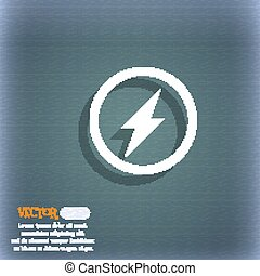 Photo flash sign icon. Lightning symbol. On the blue-green abstract background with shadow and space for your text. Vector