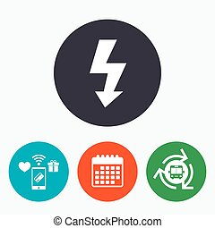 Photo flash sign icon. Lightning symbol. Mobile payments, ...