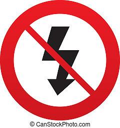 Photo flash sign icon. Lightning symbol. Red prohibition ...