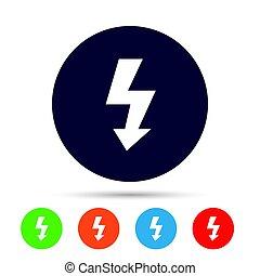 Photo flash sign icon. Lightning symbol. Round colourful ...