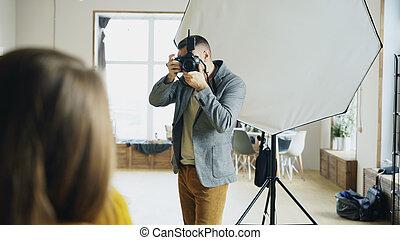 photo, fonctionnement, photographe, prenant photos, appareil photo, studio, numérique, professionnel, modèle