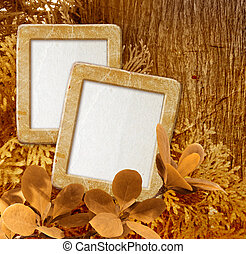 Photo frame against wood