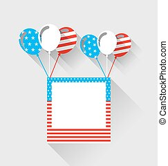 Photo frame and balloons in US national colors, long shadow style
