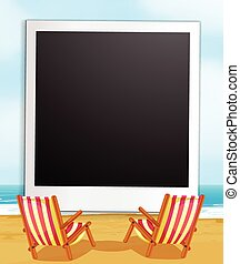 Photo frame and beach - Illustration of a photo frame with...