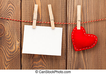 Photo frame and handmaded valentines day toy heart