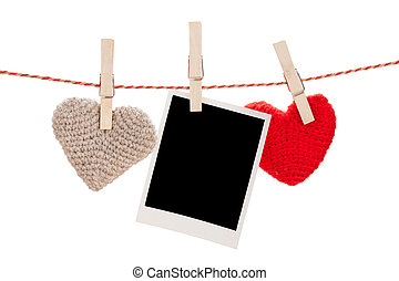 Photo frame and valentines day toy hearts