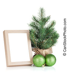 Photo frame, christmas tree and baubles
