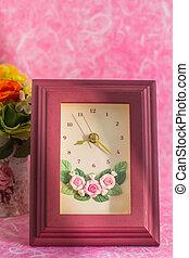 Frame Clock on a pink background