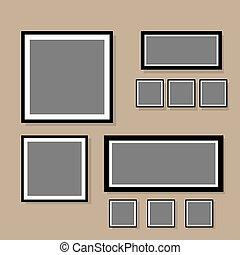 Photo frame collage blank set with flat design vector illustration