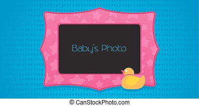 Photo frame collage with cute rubber duck vector illustration