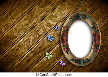 photo frame empty hanging on a wall of wood and romantic...