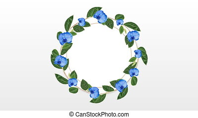 Photo frame for copy space with decorative blue flower -...