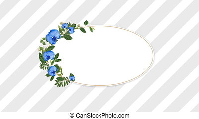photo frame for copy space with decorative blue flowers...
