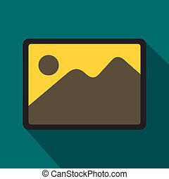 Photo frame icon, flat style