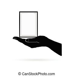 photo frame in black hand vector