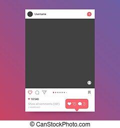 Photo frame inspired social network frame template
