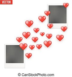Photo frame Lovers with valentines hearts sent