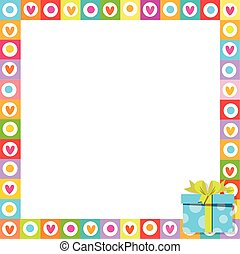 photo frame made of cute hearts with blue wrapped gift box in corner.