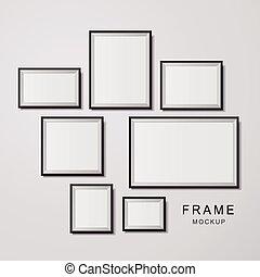 photo frame mockup set isolated on white background