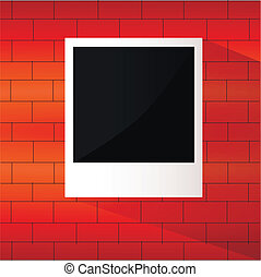 Photo frame on a brick wall