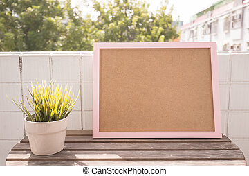 photo frame on balcony