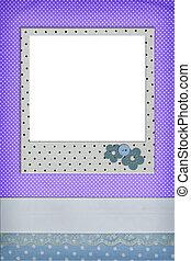 Photo frame on polka dot background