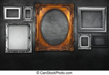 Photo frame on vintage wall